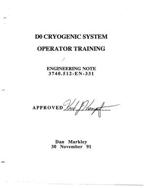 Primary view of object titled 'D0 Cryogenic System Operator Training'.