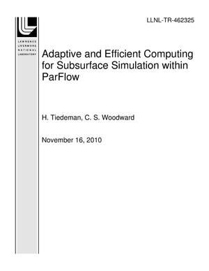 Primary view of object titled 'Adaptive and Efficient Computing for Subsurface Simulation within ParFlow'.