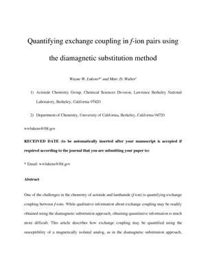 Primary view of object titled 'Quantifying exchange coupling in f-ion pairs using the diamagnetic substitution method'.