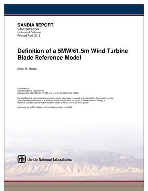 Primary view of object titled 'Definition of a 5MW/61.5m wind turbine blade reference model.'.