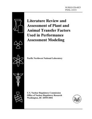 Primary view of object titled 'Literature Review and Assessment of Plant and Animal Transfer Factors Used in Performance Assessment Modeling'.