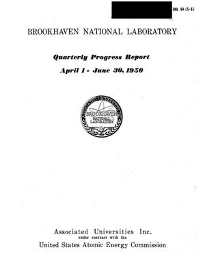 Primary view of object titled 'Quarterly Progress Report (April 1 to June 30, 1950)'.