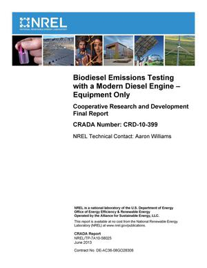 Primary view of object titled 'Biodiesel Emissions Testing with a Modern Diesel Engine - Equipment Only: Cooperative Research and Development Final Report, CRADA Number CRD-10-399'.