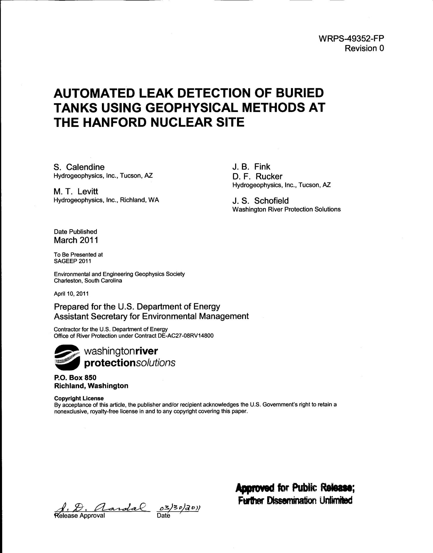 AUTOMATED LEAK DETECTION OF BURIED TANKS USING GEOPHYSICAL METHODS AT THE HANFORD NUCLEAR SITE                                                                                                      [Sequence #]: 2 of 15