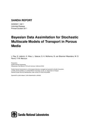 Primary view of object titled 'Bayesian data assimilation for stochastic multiscale models of transport in porous media.'.