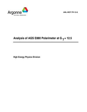 Primary view of object titled 'Analysis of AGS E880 polarimeter data at Gy = 12.5.'.