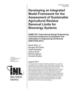 Primary view of object titled 'Developing an Integrated Model Framework for the Assessment of Sustainable Agricultural Residue Removal Limits for Bioenergy Systems'.