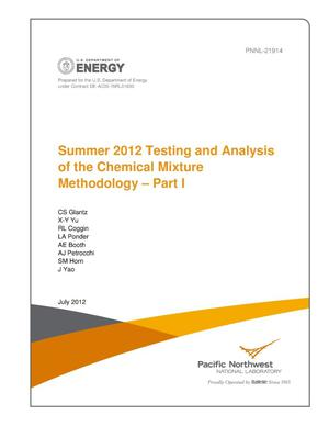 Primary view of object titled 'Summer 2012 Testing and Analysis of the Chemical Mixture Methodology -- Part I'.