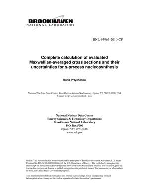 Primary view of object titled 'Complete calculation of evaluated Maxwellian-averaged cross sections and their uncertainties for s-process nucleosynthesis'.