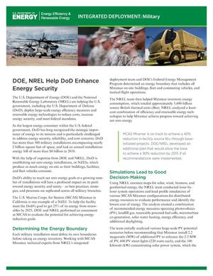Primary view of object titled 'DOE, NREL Help DoD Enhance Energy Security (Fact Sheet)'.