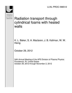 Primary view of object titled 'Radiation transport through cylindrical foams with heated walls'.