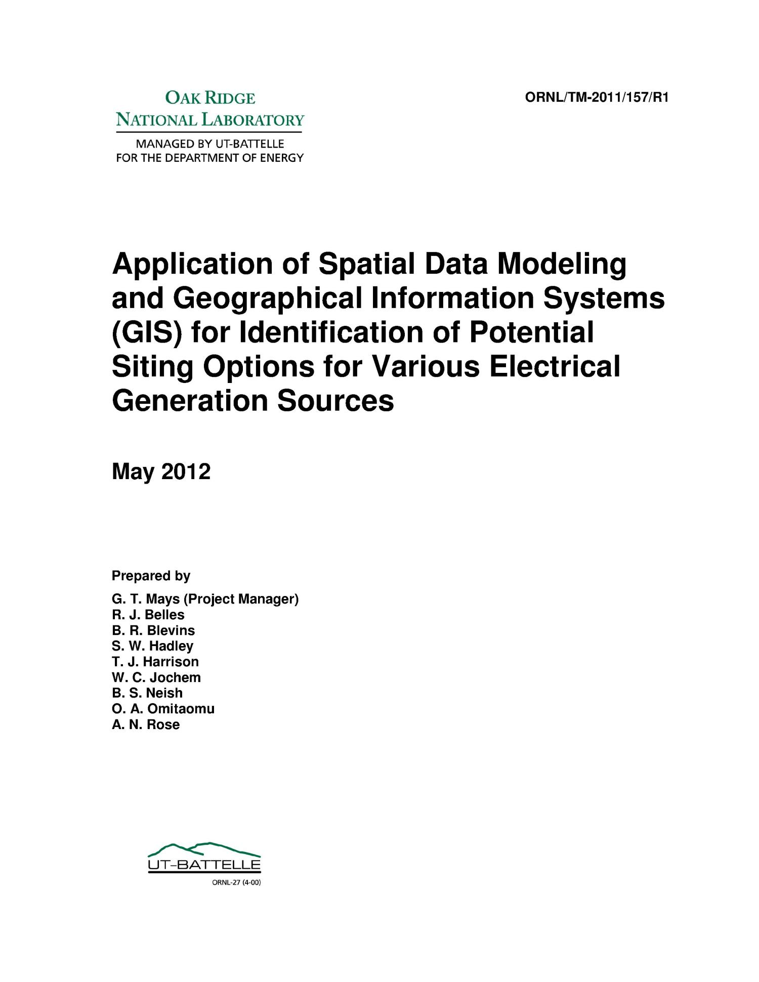 Application of Spatial Data Modeling and Geographical Information Systems (GIS) for Identification of Potential Siting Options for Various Electrical Generation Sources                                                                                                      [Sequence #]: 1 of 173