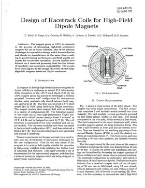 Primary view of object titled 'Design of Racetrack Coils for High Field Dipole Magnets'.