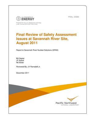 Primary view of object titled 'Final Review of Safety Assessment Issues at Savannah River Site, August 2011'.