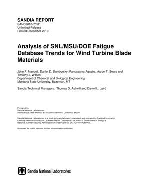 Primary view of object titled 'Analysis of SNL/MSU/DOE fatigue database trends for wind turbine blade materials.'.
