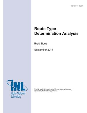 Primary view of object titled 'Route Type Determination Analysis'.