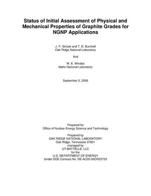 Status of Initial Assessment of Physical and Mechanical Properties