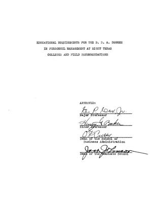 Primary view of object titled 'Educational Requirements for the B.B.A. Degree in Personnel Management at Eight Texas Colleges and Field Recommendations'.