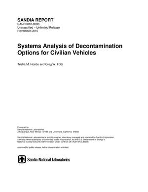 Primary view of object titled 'Systems analysis of decontamination options for civilian vehicles.'.