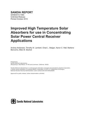 Primary view of object titled 'Improved high temperature solar absorbers for use in Concentrating Solar Power central receiver applications.'.