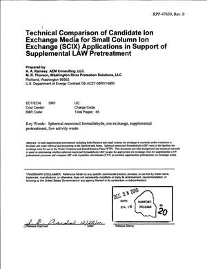 Primary view of object titled 'TECHNICAL COMPARISON OF CANDIDATE ION EXCHANGE MEDIA FOR SMALL COLUMN ION EXCHANGE (SCIX) APPLICATIONS IN SUPPORT OF SUPPLEMENTAL LAW PRETREATMENT'.