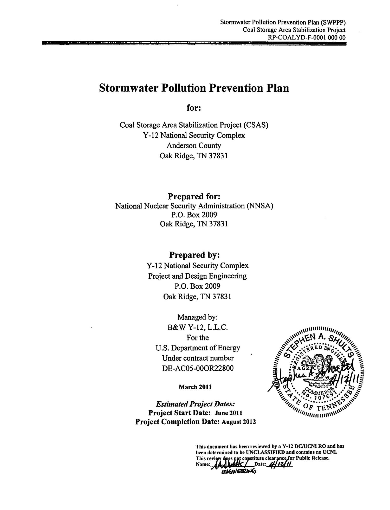 Stormwater Pollution Prevention Plan (SWPPP) For Coal Storage Area  Stabilization Project Digital Library