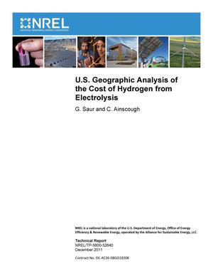 Primary view of object titled 'U.S. Geographic Analysis of the Cost of Hydrogen from Electrolysis'.