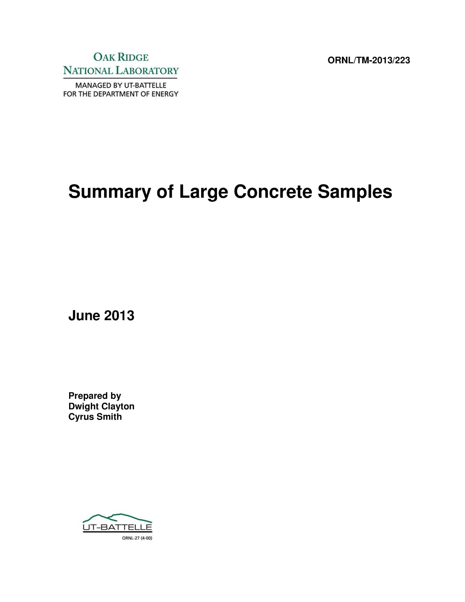 Summary of Large Concrete Samples                                                                                                      [Sequence #]: 1 of 57