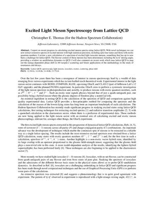 Primary view of object titled 'Excited light meson spectroscopy from lattice QCD'.