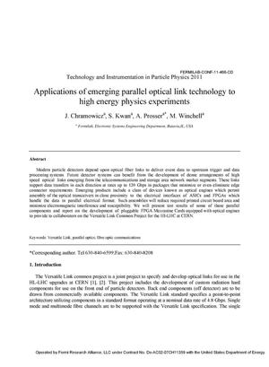 Primary view of object titled 'Applications of Emerging Parallel Optical Link Technology to High Energy Physics Experiments'.