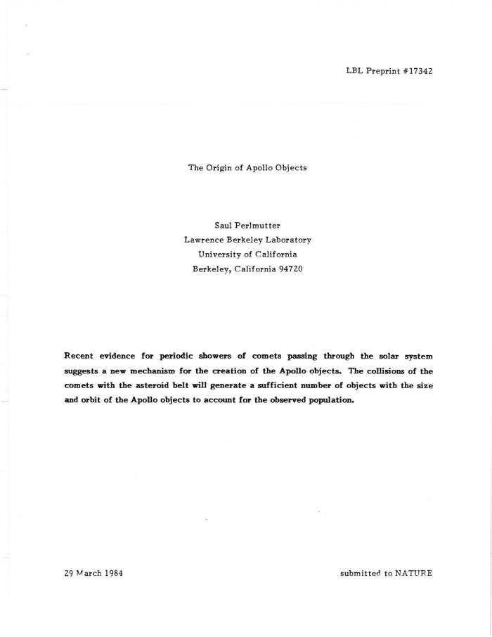 The Origin of Apollo Objects - Digital Library