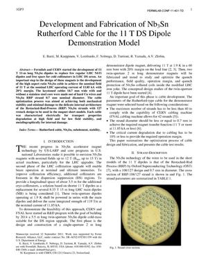 Primary view of object titled 'Development and Fabrication of Nb3Sn Rutherford Cable for the 11 T DS Dipole Demonstration Model'.