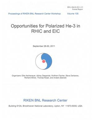 Primary view of object titled 'Opportunities for Polarized He-3 in RHIC and EIC'.