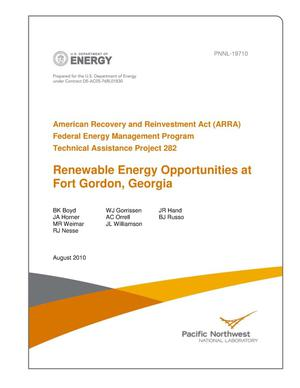 Primary view of object titled 'American Recovery and Reinvestment Act (ARRA) Federal Energy Management Program Technical Assistance Project 282 Renewable Energy Opportunities at Fort Gordon, Georgia'.