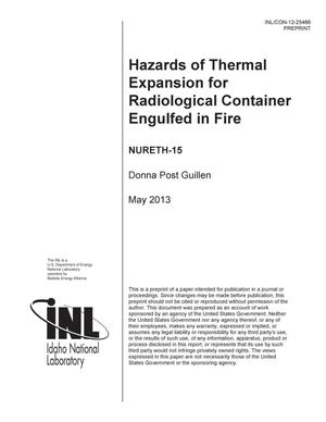 Primary view of object titled 'HAZARDS OF THERMAL EXPANSION FOR RADIOLOGICAL CONTAINER ENGULFED IN FIRE'.