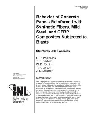 Primary view of object titled 'Behavior of Concrete Panels Reinforced with Synthetic Fibers, Mild Steel, and GFRP Composites Subjected to Blasts'.