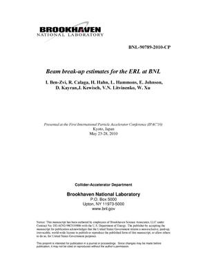 Primary view of object titled 'Beam break-up estimates for the ERL at BNL'.