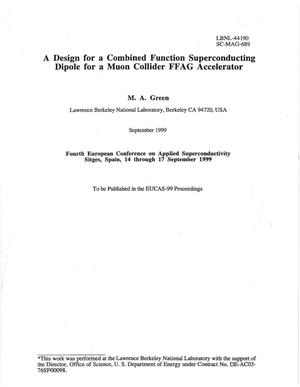 Primary view of object titled 'A design for a combined function superconducting dipole for a muon collider FFAG accelerator'.