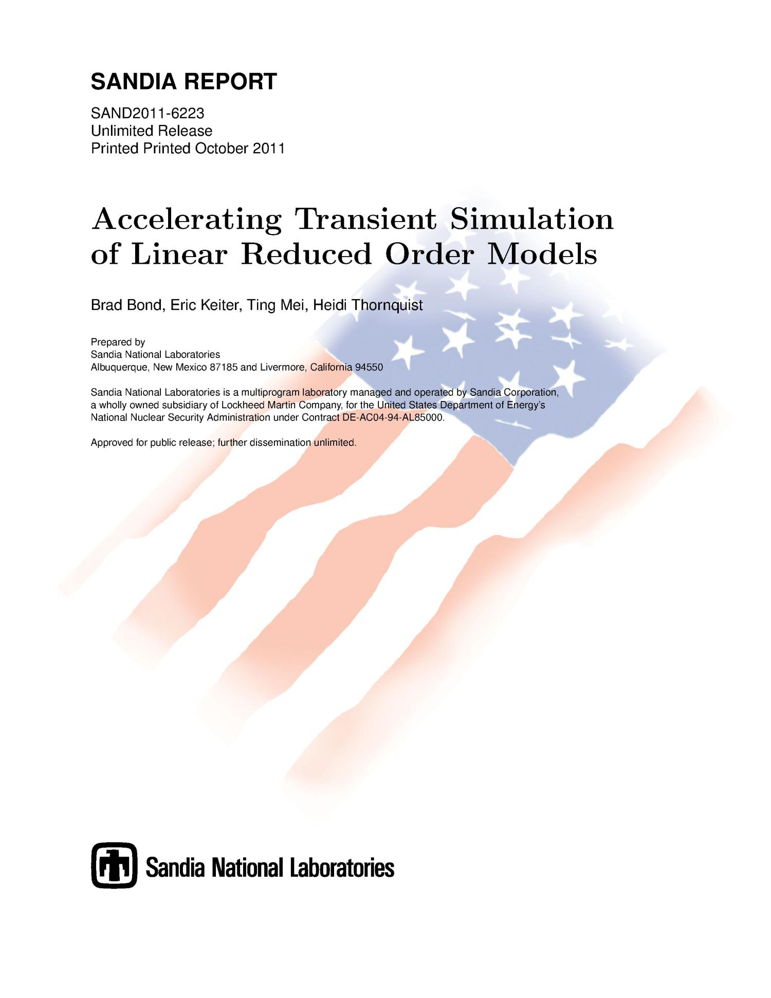 Accelerating transient simulation of linear reduced order models.                                                                                                      [Sequence #]: 1 of 38