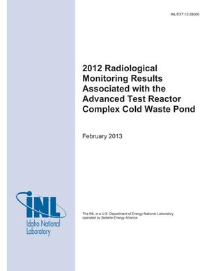 Primary view of object titled '2012 Radiological Monitoring Results Associated with the Advanced Test Reactor Complex Cold Waste Pond'.