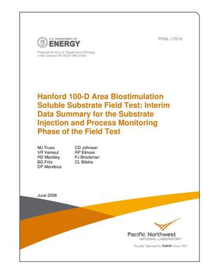Primary view of object titled 'Hanford 100-D Area Biostimulation Soluble Substrate Field Test: Interim Data Summary for the Substrate Injection and Process Monitoring Phases of the Field Test'.