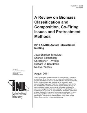 Primary view of object titled 'A review on biomass classification and composition, cofiring issues and pretreatment methods'.