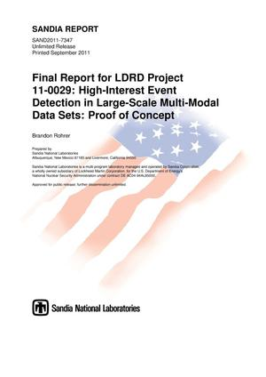 Primary view of object titled 'Final report for LDRD project 11-0029 : high-interest event detection in large-scale multi-modal data sets : proof of concept.'.