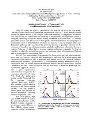 Primary view of object titled 'FLAME-SAMPLING PHOTOIONIZATION MASS SPECTROSCOPY - FINAL TECHNICAL REPORT'.