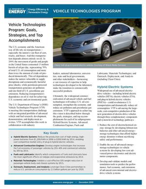 Primary view of object titled 'Vehicle Technologies Program: Goals, Strategies, and Top Accomplishments (Brochure)'.