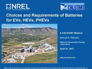 Primary view of object titled 'Choices and Requirements of Batteries for EVs, HEVs, PHEVs (Presentation)'.