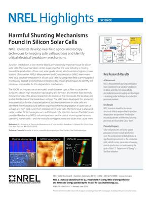 Primary view of object titled 'Harmful Shunting Mechanisms Found in Silicon Solar Cells (Fact Sheet)'.