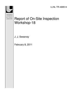 Primary view of object titled 'Report of On-Site Inspection Workshop-18'.