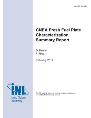 Primary view of object titled 'CNEA Fresh Fuel Plate Characterization Summary Report'.