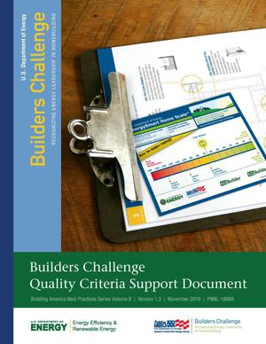 Primary view of object titled 'Building America Best Practices Series Volume 8: Builders Challenge Quality Criteria Support Document'.